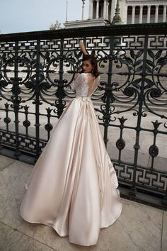 bdcc4d230b15 A-line Bateau Floor-length 3 4-Length Satin Wedding Dress   VB416