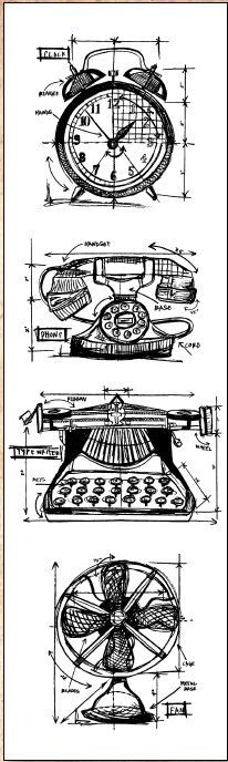 Stamper's Anonymous / Tim Holtz - Cling Mounted Rubber Stamp Set - Mini Blueprints Vintage Things,$10.95