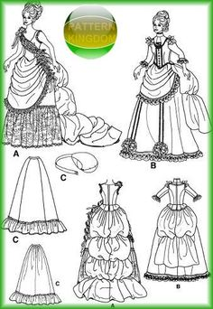 Simplicity 5457 Victorian 1880s Saloon Girl Bustle Dress Patterns