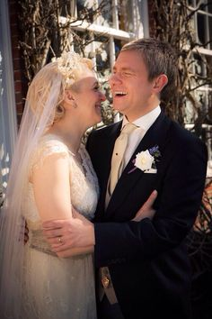 Amanda Abbington and Martin Freeman, Sherlock. Dress by Jane Borvis London.