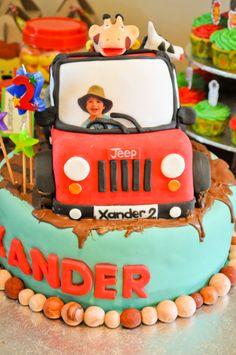 Jungle Safari cake for Xander's b-day Jungle Safari Cake, Safari Cakes, Cake Creations, Birthday Cake, Baking, Desserts, Food, Tailgate Desserts, Deserts