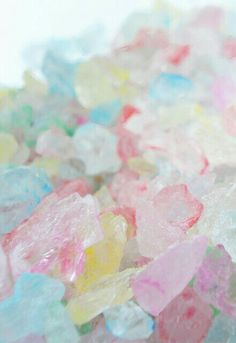 Given my love of sprinkles, I am always on the hunt for some new variety. I have used rock candy sugar crystals as sprinkles before, but the colors I can usually find at the candy shops, while pretty, are not. Pastel Candy, Colorful Candy, Candy Colors, Soft Colors, Pastel Colors, Colours, Soft Pastels, Rock Candy, Eye Candy