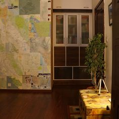 The map wallpaper at the nook behind the door in the study room | Home Tour: A beautiful Antique Modern home in Bangalore ~ The Keybunch Decor Blog Makes You Beautiful, Beautiful Homes, Brick Cladding, Vintage Trunks, Tanjore Painting, Map Wallpaper, Stone Flooring, Decorating Blogs, House Tours