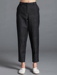 #AdoreWe #StyleWe TANGY Deep Gray Casual Plain Wool-blend Straight Leg Pants - AdoreWe.com
