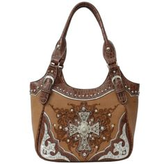 Handbags Bling More Tan Western Rhinestone Cross Handbag Style Purses
