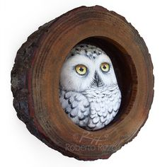 A Painted Snowy Owl in His Wooden Nest, a Unique Handmade 3-D Artwork by Roberto Rizzo! This is a unique piece of art! I realized it assembling a handpainted snowy owl made in clay in a hollow wooden trunk section with a power glue. The artwork is painted with high quality acrylics and very small brushes and protected with a satin varnish coat. This piece is also signed on the back, ready to hang and accompanied by a Certificate of Authenticity. *** Please note that because I use natural…