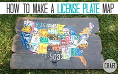 Make your own license plate map! other license plate DIY ideas. Map Crafts, Tin Can Crafts, Crafts To Make, Home Crafts, Arts And Crafts, License Plate Crafts, License Plate Art, License Plate Ideas, Pvc Pipe Projects