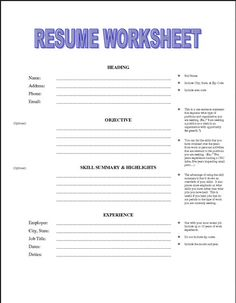 printable resume worksheet free httpjobresumesamplecom1992printable - Free Printable Resumes Templates