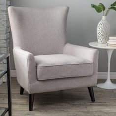 Belham Living Wool Herringbone Occasional Chair and Ottoman - Accent Chairs at Hayneedle