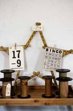 Yardstick star and vintage cotton mill thread wooden spools; sewing collectibles; Upcycle, recycle, salvage, diy, repurpose!  For ideas and goods shop at Estate ReSale & ReDesign,