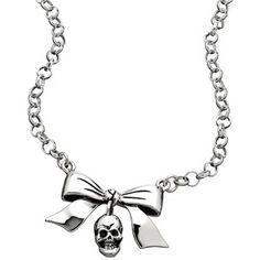 Femme Metale Bow Dangle Skull Necklace