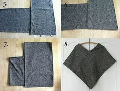 Wool Poncho DIY: This is probably the easiest poncho you'll ever make that you'll actually wear more than once. It's made from a thick woven wool in a graphic herringbone print.Poncho in two strips to crochet and add sleeves. Diy Clothing, Sewing Clothes, Clothing Patterns, Sewing Patterns, Poncho Pattern Sewing, Shawl Patterns, Sewing Hacks, Sewing Tutorials, Sewing Projects