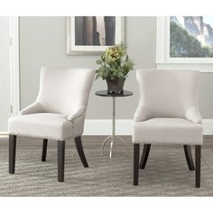 Safavieh Loire Beige Linen Nailhead Dining Chairs (Set of 2) | Overstock.com Shopping - Great Deals on Safavieh Dining Chairs