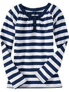 Girls Striped Long-Sleeve Henleys | Old Navy.    This would kinda work....
