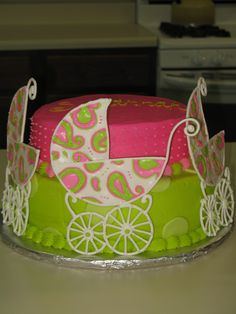 Baby Carriage baby shower cake design.  Matched the invitation.