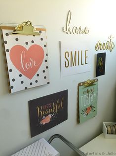 MichaelsMakers Tatertos and Jello Bedroom Gallery Wall Work Space