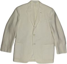"ERMENEGILDO ZEGNA OFF-WHITE LINEN ""TRAVEL"" MEN'S JACKET-50/40-SWITZERLAND #ERMENEGILDOZEGNA #TWOBUTTON"