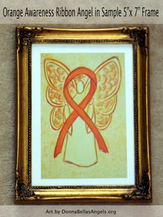Orange Awareness Ribbon Leukemia and Kidney Cancer Guardian Angel Art Postcards (10 Pack)