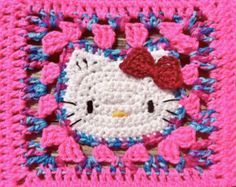 Items similar to Crochet Hello Kitty Blanket - Pink/Cotton Candy Mix on Etsy Crochet Shirt, Cute Crochet, Crochet Crafts, Hand Crochet, Crochet Projects, Granny Square Crochet Pattern, Crochet Blanket Patterns, Knitting Patterns, Hello Kitty Crochet