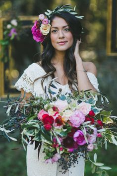 Boho Bride in Flower Crown, Daughter's of Simone Dress and Seascape Flowers  Photo by Two Foxes Photography