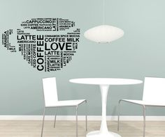Vinyl Wall Decal Sticker Coffee Words Cup #5162   Stickerbrand wall art decals, wall graphics and wall murals.