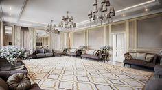 NeoClassical style Majlis design + entrance area designElegant colours and light accessories