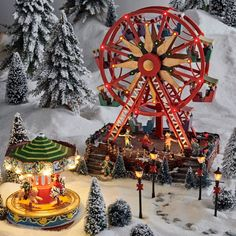 Snow Scenes, Christmas Villages, Christmas Time, Holiday Decor, Comme, Ferris Wheel, Cali, Beautiful, Decorating