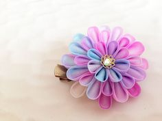 Colorful flower hair clip, Colorful flower brooch, Colorful Kanzashi, japanese hair ornament, japanese accessory