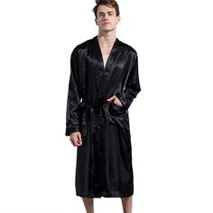 7338a8f30e Men s Satin Robe Kimono Long Bathrobe Sleepwear Wedding Grooms Christmas  Gift