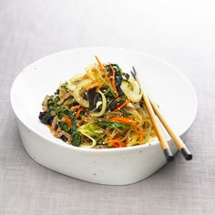 Japchae - I made this and it is sooo good! Would be great to take to a potluck. The noodles I found say sweet potato not yam...