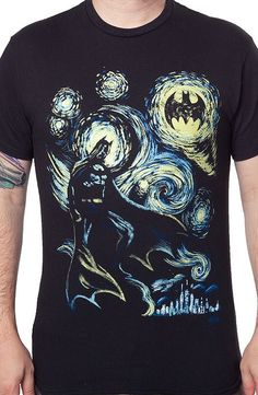 Starry Dark Knight T-Shirt With classic art and super hero celebrity this design is illustrated like an old master's art.