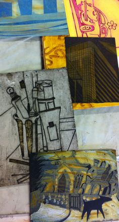 ....examples of collagraph plates (not mine) simple cutting away on card, so effective.