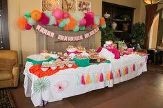 Mint, orange, pink tassle garland