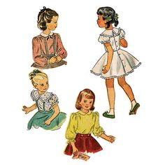 1940s Childs Blouse Simplicity 2534 Vintage by JFerrariDesigns, $14.00