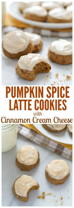 Pumpkin Spice Latte Cookies with Cinnamon Cream Cheese Frosting. All of the flavor of your favorite fall latte in cookie form!