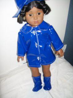 Blue raincoat outfit includes boots, rainhat and umbrella. Lined vinyl raincoat. Raincoat Jacket, Rain Jacket, All American Boy, Rain Gear, Harajuku, Shirt Dress, Trending Outfits, Boys, Jackets