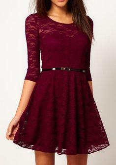 Cranberry Lace Christmas Dress