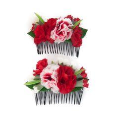 Complementos de flamenca. Pack de dos peinecillos de flamenca de flores rojas y blancas en los que destacan los claveles y clavellinas rojas.