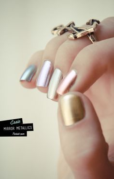 mirror metallics ESSIE  - Good as Gold, Penny talk, No place like Chrome, Nothing else Metals, and Blue Rhapsody.