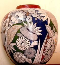 Angel Ortiz, who created this Mata Ortiz ceramic pot, is trying to bring back folk art techniques from the early 1900s. Mata Ortiz in the state of Chihuahua is renowned for its pottery. This piece was exhibited in Chapala's annual Feria Maestros del Arte.    © Marianne Carlson, 2008