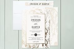 """Ad """"Modern Marble"""" - Classical, Formal Foil-pressed Wedding Invitations in Cloud by Kelly Schmidt."""