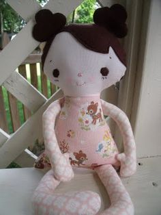 rag doll-I created this doll for my sweet new niece, Emily Elizabeth who is exactly 7 days old today.  A bit of whimsy pattern was used.