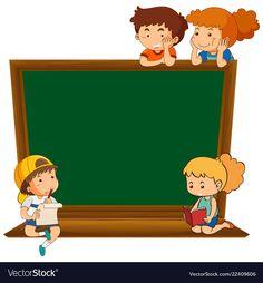 Children on blank chalkboard vector image on VectorStock Bingo Games For Kids, Physical Activities For Kids, School Board Decoration, Teacher Classroom Decorations, Preschool Classroom Decor, Kindergarten Art, School Binder Covers, Chalkboard Vector, Powerpoint Background Design