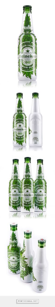Heineken limited edition / 2015 by Kissmiklos. The bottles were presented as part of the Heineken Cities campaign at the Budapest Design Week. Photos by Bálint Jaksa.. Source: Behance. Pin curated by #SFields99 #packaging #design