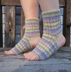 Yoga Socks Toeless Pedicure Pilates Dance Hand Knit Opal Purple Yellow Green Grey on Etsy, $29.02