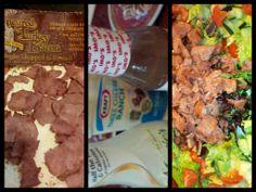 My FAVORITE salad, Trader Joe's turkey bacon, grape tomatoes and romaine lettuce.  I have a few dressings that I like, Kraft light 3 cheese, Imo's Red Wine Vinaigrette or yogurt based.