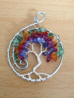 Peacock Tree of Life Pendant by TwistedWiresTorquay on Etsy