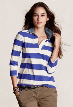 50 Under $50: Totally Fresh Spring Pieces For the Offbeat Prepster: This striped rugby shirt, complete with denim collar, bodes well for an off-duty preppy outfit.  Lands' End Women's Lightweight Rugby Shirt ($30)