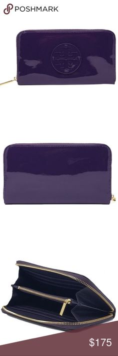 tory burch // stacked patent leather zip wallet NWT Tory Burch stacked patent leather wallet in Iris, a deep, jewel-toned purple. Gold wraparound zipper. Stacked large patent leather logo on front. Bring a refined touch to your cards and cash with this polished, structured wallet that can be slipped into a larger bag or carried as a clutch. Interior zippered change pocket.   7.5'' W x 4'' H x 1'' D Lined Zip closure Standard wallet pockets Tory Burch Bags Wallets