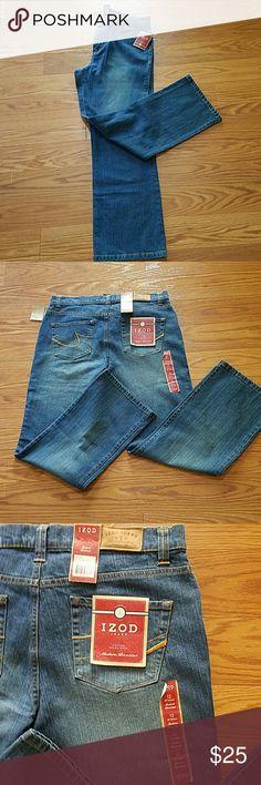 "Izod Sz. 12 Stretch Modern Bootcut Jeans NWT Izod Ladirs Sz. 12 Stretch Modern Bootcut Jeans NWT.  They are 30"" inseam. 99% cotton 1 % spandex Izod Jeans Boot Cut"